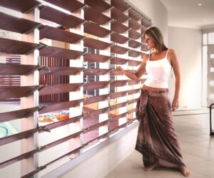 Breezway Louvres with timber blades can add warmth to a home