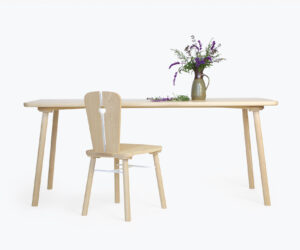Yellow Diva Milker timber dining table chair